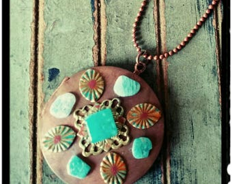 "Copper Locket -Long Copper Necklace//Embellished Locket//Blue Stone//Filigree/ 32"" Bead Chain/Stamped Message/Personalize Keepsake - Boho"