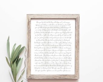 Song Lyric Art - Wedding Song Print - First Dance Song - Wedding Song Lyrics - First Anniversary Gift - Wedding Gift - Frame Not Included