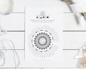 UK GMT moon calendar 2018 printable, moon phases wall art, instant download, moon art, gift for yoga lover, boho art, crystal healing
