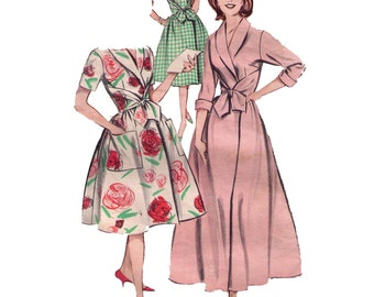 Butterick 9214, 50s Sewing Pattern, Size 10 Mid Century Housecoat Wrap Dress Pattern, Robe Pattern Shawl Collar, Kerchief Knot
