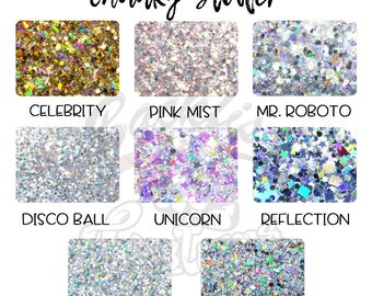 Backfist Customs Chunky Glitter Mixes || Chunky Glitter, Miscellaneous Shapes, and Holographic Mixes
