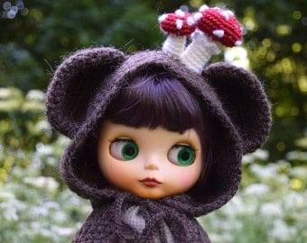 Blythe hat Сloak Сape Blythe bear hood with Mushrooms Doll clothing Blythe outfit Animal hat Fly agarics Blythe amanita hat