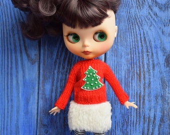 Sweater for Blythe Christmas tree Blythe new Year outfit  Blythe doll clothes Blythe jumper  Blythe red sweater Blythe Christmas wear