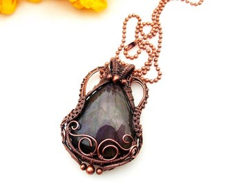 purple labradorite pendant-wire wrap-wire weave-copper wrap-wire wrapped jewekry-artisan jewelry-handmade pendant-boho-Melissa Wood Jewelry