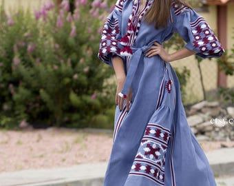 Vyshyvanka Blue Linen Embroidered Dress Ukrainian Vyshyvanka Dress Mexican Dress Kaftan Abaya, Caftan Free Shipping Boho style
