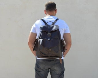 Office Bag, Professional Bag, Leather Backpack Men, Work Bag, Leather Rucksack, Large Backpack, College Bag, Made in Greece.