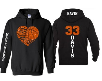 Glitter Basketball Hoodie  Customize with your Team & Colors   Adult or Youth Sizes