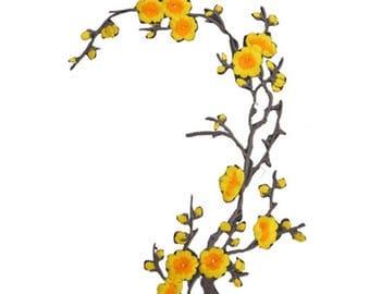 1 - coat - fusible - cherry blossom - yellow tones Patch applique
