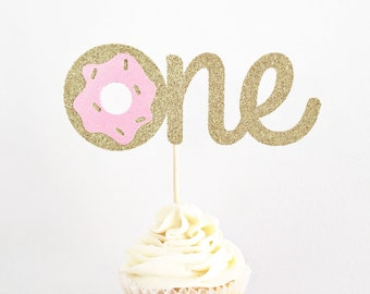 Donut One Cake Topper / Donut Grow Up Cake Topper / First Birthday Cake Topper / Smash Cake Topper / 1st Birthday Decorations