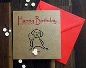 Birthday Card with Quilled Daisies - Dog Lovers Card - Dog Outline Art - Birthday Card for Her - Birthday Card for Him - Greeting Card