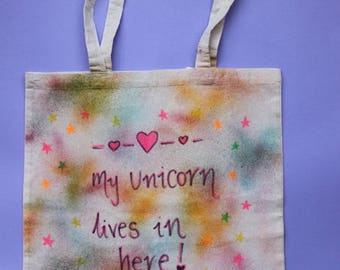 My unicorn lives in here | Tie Dye Tote Bag |Magical |Quote tote| Handmade |Enchantment |Magical |Festival Tote|Summer Tote| Magical Dreams