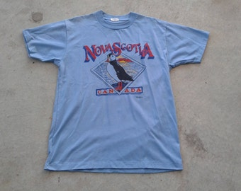 Vintage 80's Nova Scotia Puffins Baby Powder Blue t-shirt Made in Canada large