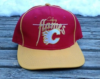 "Killer Vintage 90's Calgary Flames Wool ""The Game"" Snapback Baseball Cap"