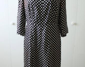 1940s Dress / Polka Dot Print / Velvet Neckline / Dark Navy / Vintage 40s