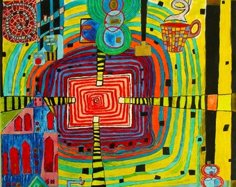 Original Acrylic Painting Colorful in the Style of Midcentury Artist and Architect Friedensreich Hundertwasser 24x24 on canvas Busy Chaos