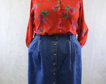 80's 90's Pleated Medium Blue Denim Pencil Skirt with Button Front Elastic Back  | Above Knee | Made in the USA | Size 18 1X