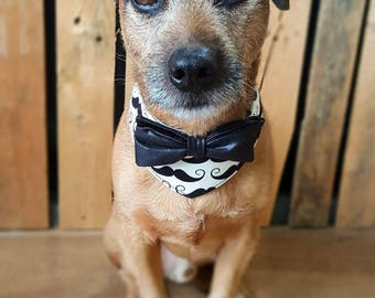 Dog bandana, dog bow tie, Hipster Dog Collar, Dog Outfit, Dog Costume, Dog Bandana Collar, Dog Bowtie Collar, Leather Bow, Moustache