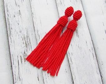 Beaded tassel earrings Red beaded earrings Oscar tassel earrings Jewelry handmade Long fringe earrings Statements earrings Wedding earrings