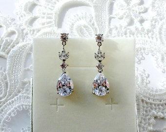 Bridal earrings Crystal bridal earrings drop Crystal wedding earrings Wedding jewelry gift Bride earrings Bridal jewelry Teardrop earrings j