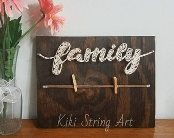 FAMILY string art, Family picture, wall decor, home decor, Christmas gift, Wood sign, Picture holder, Family picture frame,