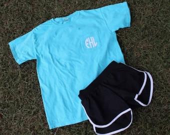 Monogrammed Pocket Tee and Athletic Shorts Set