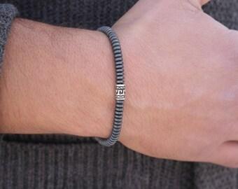 Men's Bracelet Hematite Mens Beaded Bracelet Mens Gift fro Him Gift for Boyfriend  Surfer Bracelet Hematite Mens Beaded Bracelet