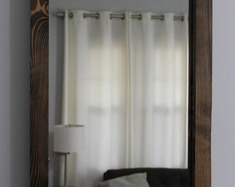 Rustic Wood Mirror 30x18 Distressed Wood Frame Mirror Pine Rectangular Rustic Mirror Vanity Mirror Bathroom Mirror Hallway Bedroom