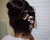 Rose gold Hair accessories Sakura Hair stick for women Wooden hair stick long hair Cherry Blossom Kanzashi Japanese hair stick Gift for her