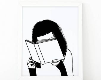 Girl reading Book, Book Lover, Reading Is Cool, Girl Reading, Illustration, Reading print, Book Poster, printable art, illustration art