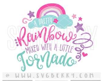 A Pretty Rainbow Mixed With a Little Tornado SVG / Unicorn Svg Mermaid Svg Baby Girl Onesie / Summer Sunshine Svg / cut cutting files / Bi