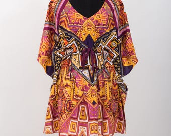 Mini dress, kaftan tunic, kimono tunic, shirt, kaftan top, indian top, indian dress, bridesmaids robe, beach coverup, maternity pyjamas