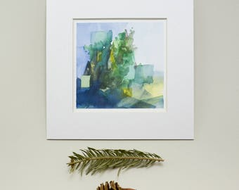 Original Watercolor, Abstract Landscape Painting
