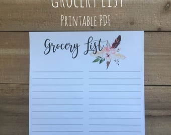 Weekly Meal Planner | Grocery List | Printable PDF | Meal Planning, Menu Plan | Instant Download
