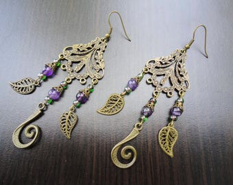 Arabian nights amethyst earrings, arabian costume violet earrings, princess jasmine tribal earrings, gypsie lightweight leaves earrings