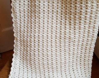 Cherish Cream Crochet Baby Blanket,  Off White Crochet Baby Blanket