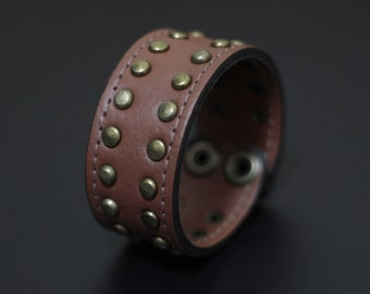 Artisan Handmade Accessory | Bronze Studded Brown Tan Vegan Friendly Leather Snapper Cuff Bracelet