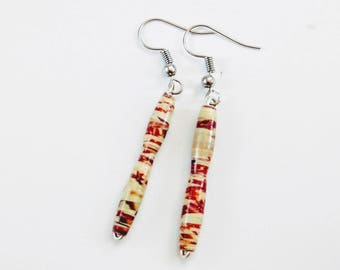 Double Curve Dangle Earrings, Handmade Paper Beads with Abstract Detailing