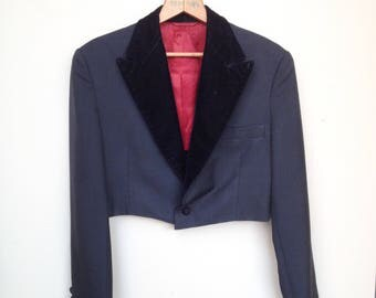 1930s or 40s Mens Cropped Bolero length Tuxedo Jacket - Black Wool Gabardine with Red Satin lining and Velvet lapels