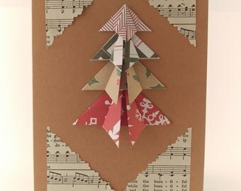 Handmade Christmas Card, 3D, Paper, Rustic