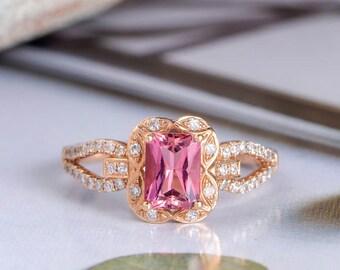 Rose Gold Engagement Ring Art Deco Tourmaline Ring Diamond Halo Unique Bridal Split Shank Antique Half Eternity Anniversary Gift For Her