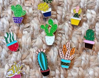 Clearance - Cactus Succulent Pins Set of 9 | Enamel Pin | Brooch | Badge | Denim Jean Jacket | Backpack Hat Bag Accessories | Pins