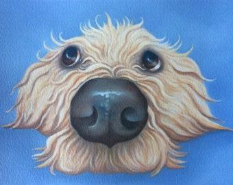 "golden labradoodle painting ""Custard"""