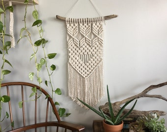 Medium woven wall hanging with fringe; Macrame tapestry; Textile wall art