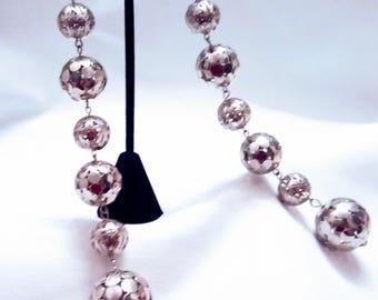 Extra Long Silver Ball Dangle Earrings