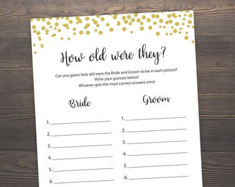 How old were they, Bridal Shower Games, How old were the bride and groom, Bride groom age,Gold Confetti, Bridal Shower Printable Games, J001