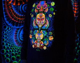 "Mens sweatshirt ""TERRAFORMER"", fluorescent blacklight active psy trance, festival wear, psychedelic, visionary art clothing, space shamanic"