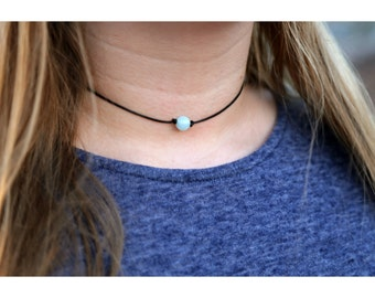 AMAZONITE BEAD CHOKER: Single Bead Choker, Blue Bead Choker, Dainty Bead Choker, Delicate Bead Choker, Black Cord Choker Necklace, Chokers