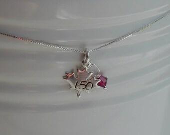 Maple leaf necklace - Canada 150 - hand-stamped sterling silver pendant - Swarovski crystal