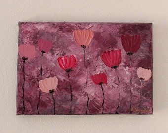 Pink Poppies 32x22cm Original Floral Painting
