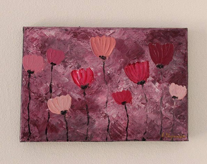 Pink Poppies 32x22cm Original Floral Painting